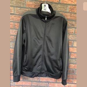 Black Jacket Full Zip Pockets Shiny Track Coat